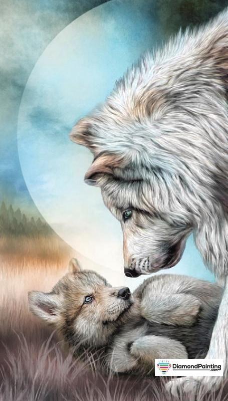 Mama And Her Cub wolf design bath towel featuring the art of Carol Cavalaris.