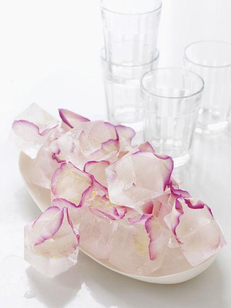 Use rose petal ice cubes for simple but elegant cocktail garnish.