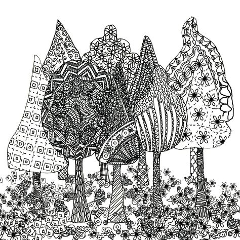 group of trees zentangle
