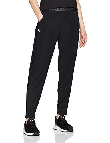M Under Armour Play Up Pant-Solid Pantaloni Donna Black//Pitch Gray//Metallic Silver Nero