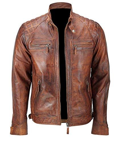 7033827722f Men-039-s-Biker-Cafe-Racer-Vintage-Motorcycle-Distressed-Brown-Leather-Jacket