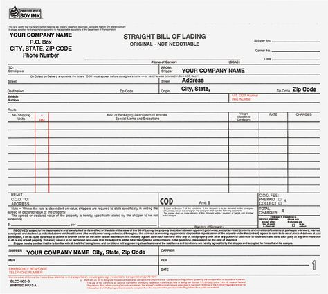 Printable Sample Bill Of Lading Form Form Real Estate Forms - bill of lading forms