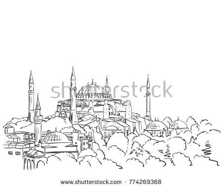 Sketch Of Hagia Sophia Museum In Istanbul Hand Drawn Illustration