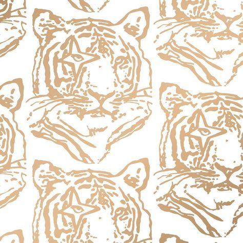 Star Tiger Designer Wallpaper in Sphinx 'Metallic Gold on Soft White'