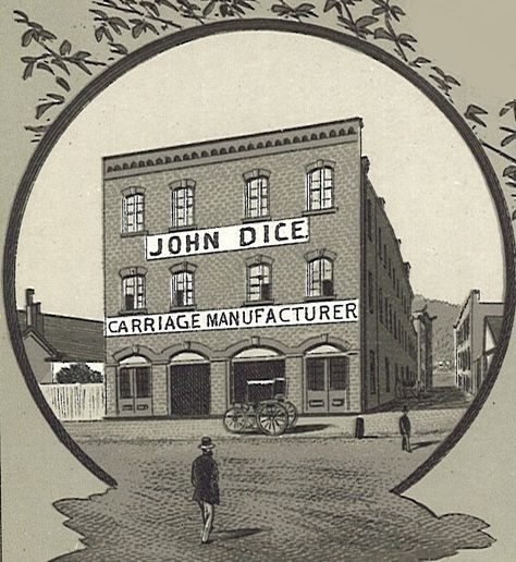 "John Dice was an early carriage and wagonmaker located on 2nd and Jefferson Sts. At one time, the (police) patrol wagon was being repaired at the Dice Carriage Company. The newspaper reported that extra precaution was taken to not let anyone know that the ""wagon was at the factory for repair for fear the regular drunks would take advantage of the fact""."