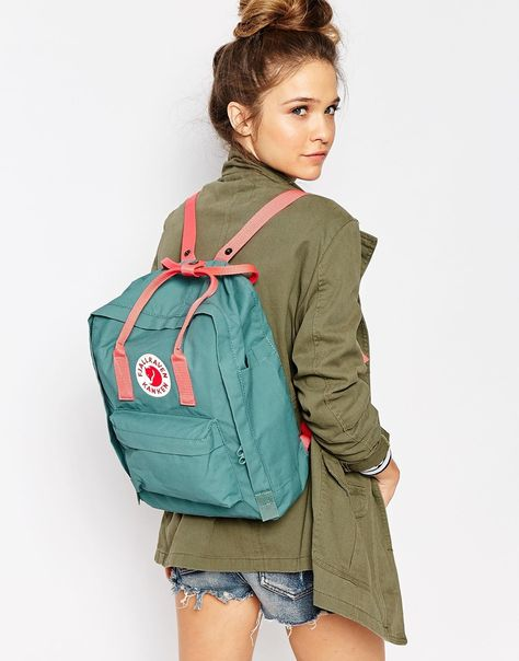 Buy Fjallraven Classic Kanken Backpack in Green with Contrast Pink at ASOS. Get the latest trends with ASOS now.
