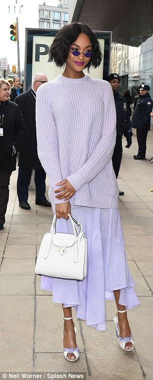 Pretty: Jourdan Dunn rocked a plush over-sized lilac hued sweater with a matching skirt wh.