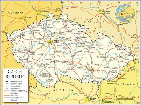Tjekkiet Geografiske Kort Over Tjekkiet