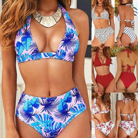 Women Floral High Waist Bikini Set Push-up Padded Swimwear Swimsuit Beachwear
