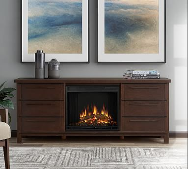 Real Flame 0174 Parsons Electric Fireplace Media Cabinet Potterybarn Media Electric Fireplace Electric Fireplace Fireplace Entertainment