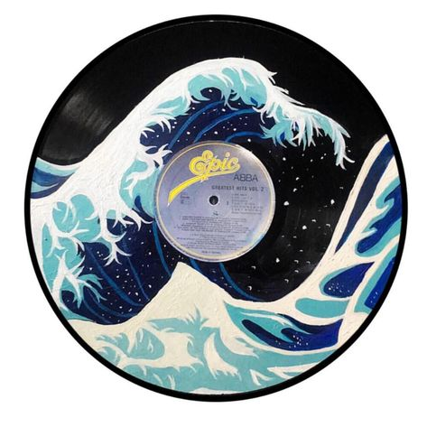 Hand painted Vinyl Records that you can commission. - Depop Hand painted Vinyl Records that you can . Vinyl Record Crafts, Vinyl Art, Vinyl Records Decor, Vinyl Decals, Wall Decals, Aesthetic Painting, Aesthetic Art, Record Wall Art, Cd Wall Art