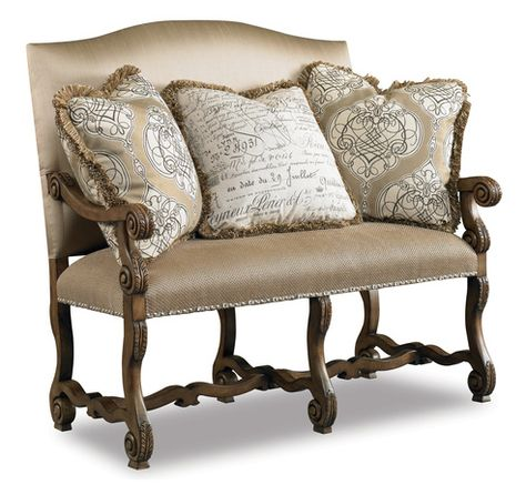 hooker furniture sam moore settee love the fabric on the pillows