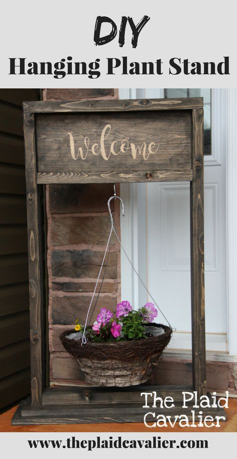 Free Diy Tutorial To Build A Wooden Hanging Plant Stand Diy Plant Stand Hanging Baskets Diy Diy Plant Hanger