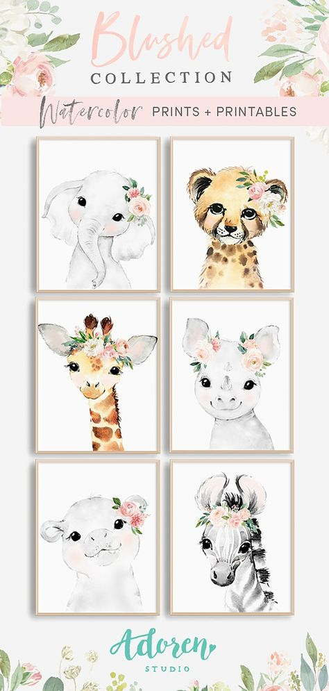 Blush Pink Floral Baby Animals – Nursery Art This gorgeous set of 6 sweet and ethereal watercolor safari animals are adorned with coordinating flower crowns from the Blushed Collection, featuring watercolor florals in every shade of blush with silver doll Safari Animals, Baby Animals, Nursery Room, Nursery Decor, Nursery Ideas, Ocean Nursery, Baby Girl Nursery Themes, Girl Nurseries, Project Nursery