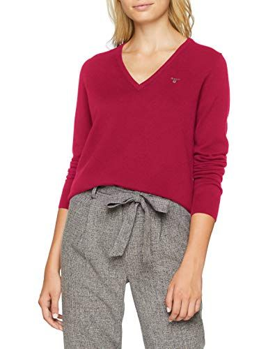 GANT Damen Pullover Superfine Lambswool V Neck Rot