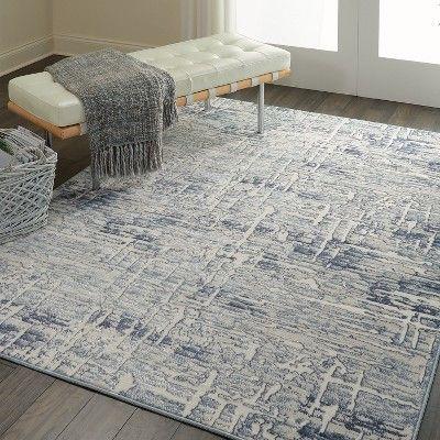 Nourison Urban Chic Urc01 Blue Cream Gray Indoor Area Rug 4 X 6