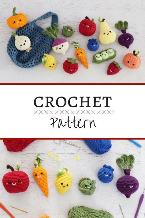 Crochet Stuffed Toys I love this darling farmers market amigurumi pattern pack! The fruit and veggies would be perfect for any play kitchen! Crochet Fruit, Crochet Food, Bead Crochet, Crochet Gifts, Cute Crochet, Crochet For Kids, Crochet Baby, Tsumtsum, Crochet Patterns Amigurumi