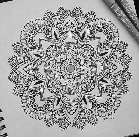 Mandala drawing black and white