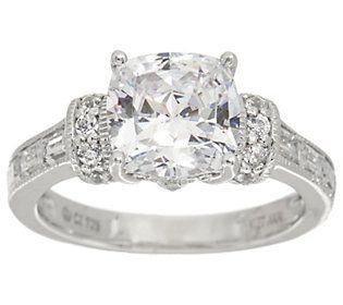 Diamonique 100 Facet Bridal Ring Platinum Clad Bridal Rings Engagement Rings Rings