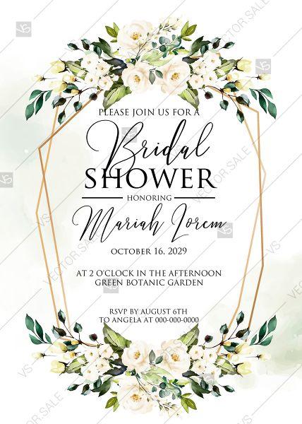 White Rose Peony Greenery Watercolor Bridal Shower Invitation Free Custom Online Editor 5x7 In 2020 Bridal Shower Invitations Free Watercolor Bridal Shower Invitations Shower Invitations Free