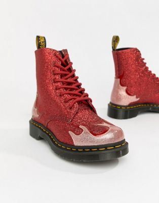 8f850f0342a9 Dr Martens 1460 Pascal Red Glitter Flame Flat Ankle Boots in 2019 ...