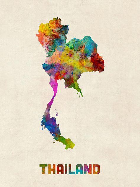 Thailand Watercolor Map Digital Art by Michael Tompsett
