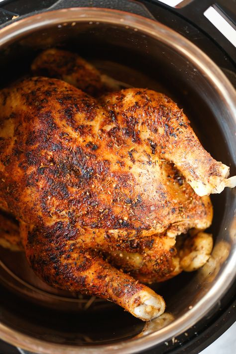 Instant Pot Rotisserie Chicken - 28 min whole. Instant Pot Rotisserie Chicken - 28 min whole rotisserie chicken? The chicken comes out perfectly tender juicy packed with flavor. And its SO EASY! Instant Pot Whole Chicken Recipe, Best Instant Pot Recipe, Instant Pot Dinner Recipes, Instant Recipes, Hot Pot Recipes, Slow Cook Whole Chicken, Recipes Dinner, Instant Pot Meals, Damn Delicious Recipes