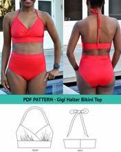Load image into Gallery viewer, Gigi Halter Bikini Top DIY Swimsuit Patterns