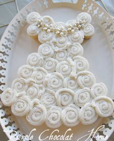 My dear, dear friend Sharon made this lovely Wedding Dress Cake for my daughter's neighborhood bridal shower. It was the hi...