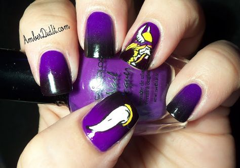 Today is the week in my NFL nail art series and I chose the Minnesota Vikings. I used Kleancolor Neon .