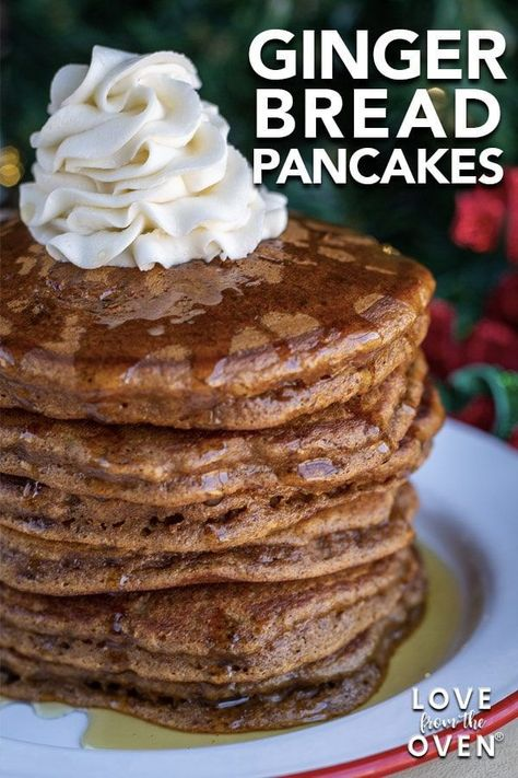 Delicious easy and fluffy gingerbread pancake recipe. Great for Christmas breakfast ideas! Delicious easy and fluffy gingerbread pancake recipe. Great for Christmas breakfast ideas! Breakfast And Brunch, Christmas Morning Breakfast, Breakfast Recipes, Breakfast Pancakes, Oven Pancakes, Great Breakfast Ideas, Brunch Food, Mexican Breakfast, Breakfast Casserole