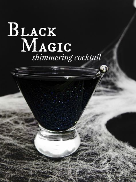 A Black Magic cocktail, black glittered Halloween or Galaxy cocktail made with black vodka, Wilton shimmer dust, orange juice, and cherry juice. With DIY for black vodka. Halloween Cocktails, Halloween Food For Party, Creepy Halloween, Halloween Magic, Halloween Punch, Halloween Shots, Halloween Activities, Halloween Decorations, Halloween Costumes