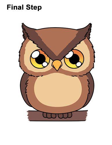 Draw A Cartoon Owl Cartoon Owl Drawing Owls Drawing Owl Cartoon
