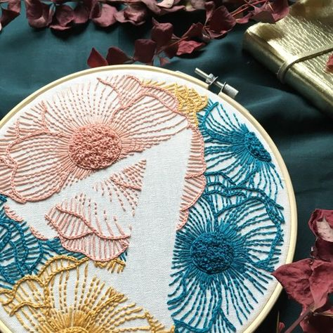 Floral Letter K  Hand Embroidery Pattern  Digital PDF Download  Instant Download Floral Hand Embroidery Detailed DIY Monogram Hoop Art