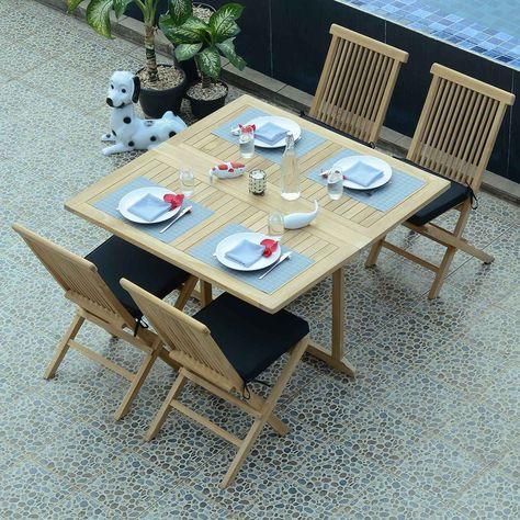Salon De Jardin En Teck Ecograde Papeete, Table Pliante ...