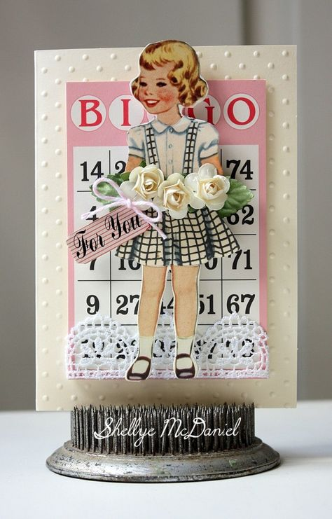 DIY vintage Valentine on a stand with dimensional card elements ~ Shellye McDaniel-For You Card