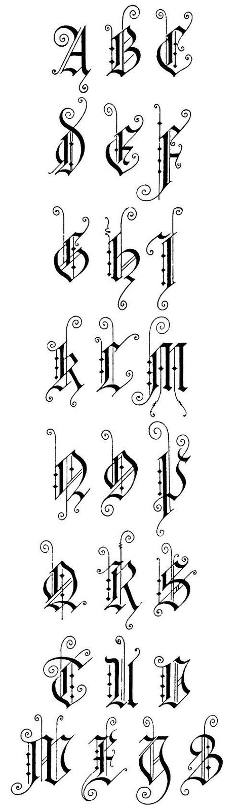 Here are six different styles of Gothic Lettering published in 1918
