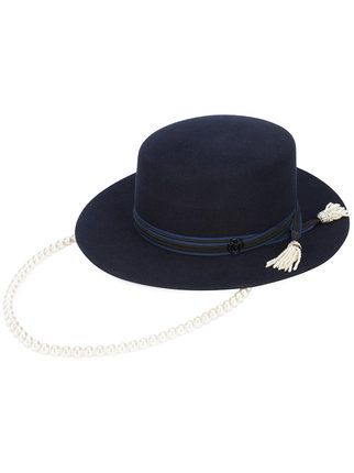 a2d9007c0 Maison Michel Wide Brim Hat With Hanging Pearl Chain - Farfetch ...