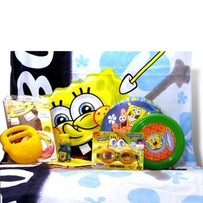 Spongebob Day at the Beach - $49.99.Enjoy the day at the beach or by the pool with Spongebob Squarepants with this summer gifts for children. A perfect present for the end of school year, a summer birthday or just because! http://www.giftbasket4kids.com/spongebob-day-at-the-beach.html
