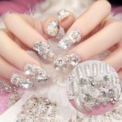 Luxurious Rhinestone False Nails For Drag Queens (Set of - Queerks™