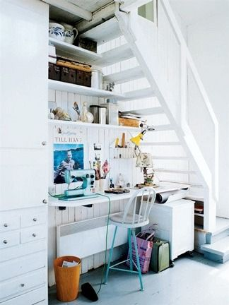 perfect little office under the steps!