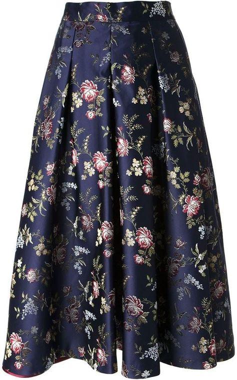 Erika Cavallini Semi Couture Floral Jacquard Full Skirt