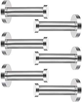 6 Pieces Stainless Steel Wall-Mount Robe Hook Coat Hook Towel Wall Hook 2 Inch, Silver Brushed Nickel