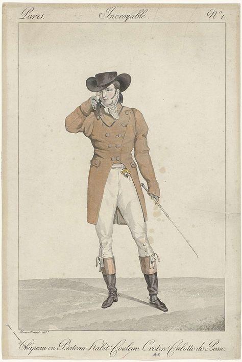 Georges Jacques Gatine   Incroyables et Merveilleuses, 1810, Incroyable, No. 1: Chapeau en bateau..., Georges Jacques Gatine, 1810   'Incroyable' met op het hoofd een 'chapeau en Bateau'. Hij draagt een 'habit' in de kleur 'crotin' met twee rijen knopen. Hieronder een gestreept vest en een kuitbroek van leer. Verdere accessoires: lorgnet aan een koord, cravate, handschoenen, breloque, zweep, tweekleurige laarzen met vierkante neuzen en sporen. De prent maakt deel uit van een serie van 33…