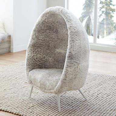 Gray Leopard Faux Fur Cave Chair Cave Chair Swinging Chair Outdoor Dining Chair Cushions