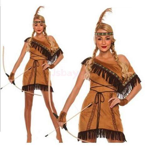 Ladies Red Indian Pocahontas Native American Wild Western Fancy Dress Costume