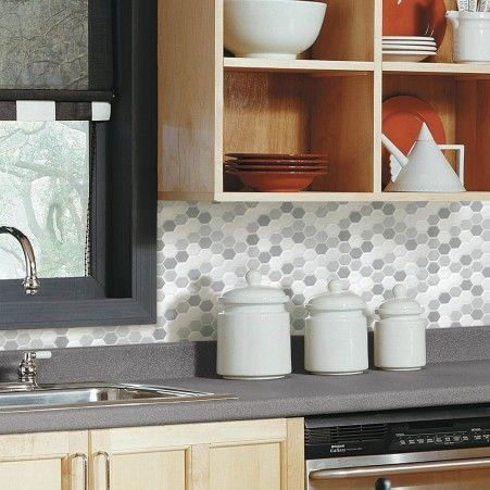 Shop Gray Hexagon Tile Peel And Stick Backsplashes Stick On