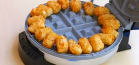 This recipe swaps out the frying pan for a waffle iron, adds some bacon and jalapeños to the mix, and trades bread for tater tots.