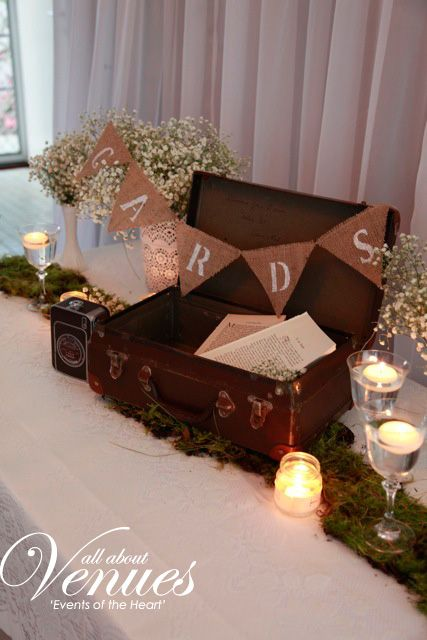 vintage suitcase wedding wishing well with hessian bunting saying 'cards!'  ask us to decorate your wedding!