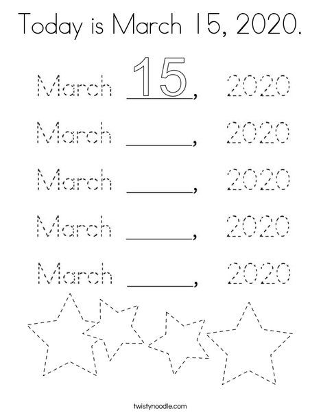Today Is March 15 2020 Coloring Page Twisty Noodle Coloring Pages Holiday Lettering Mini Books